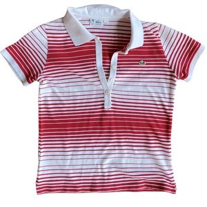 Lacoste Ombre Stripe Polo Crop with V-neck Collar
